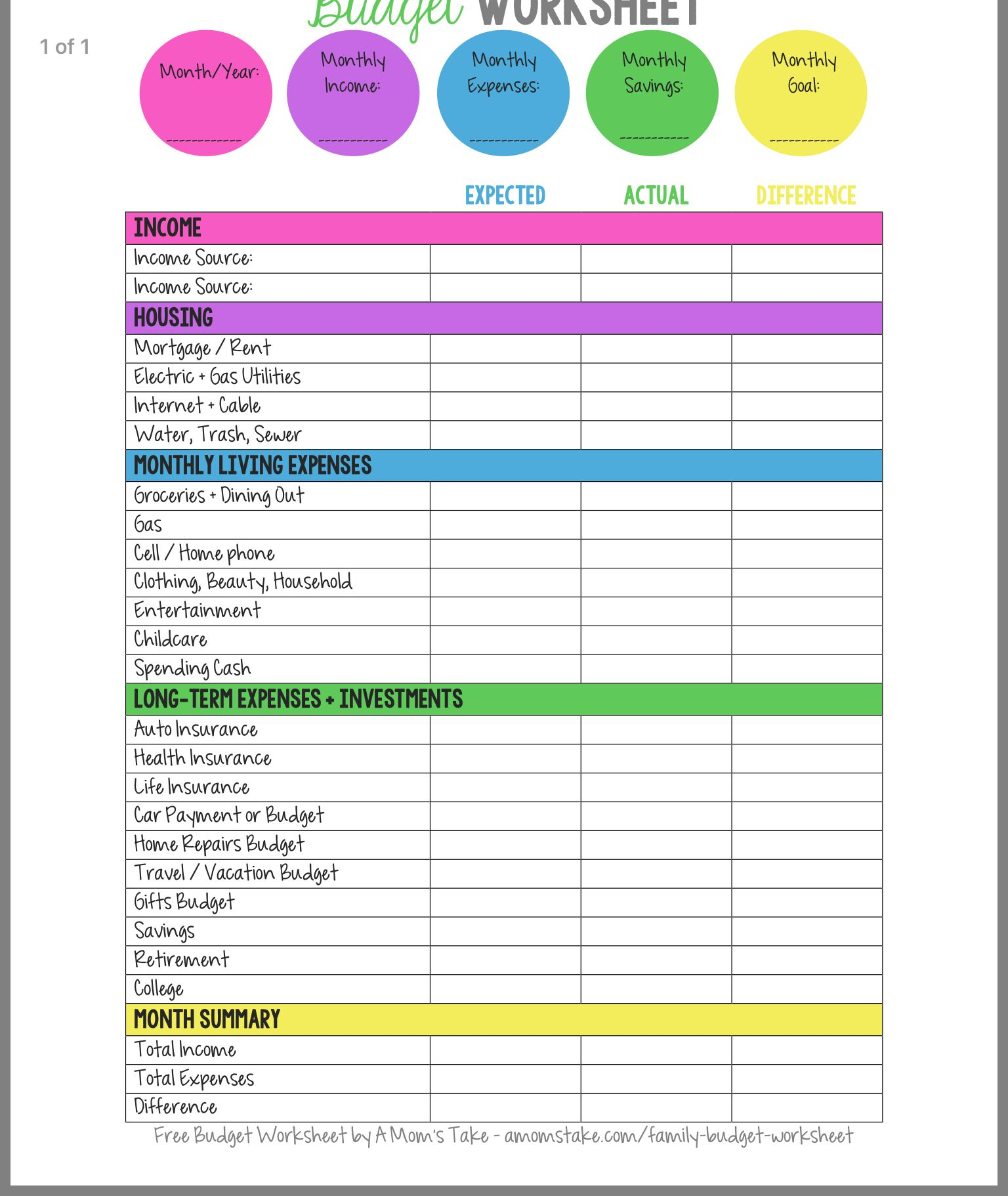 Pin About Budgeting Worksheets And Family Budget On Frugal