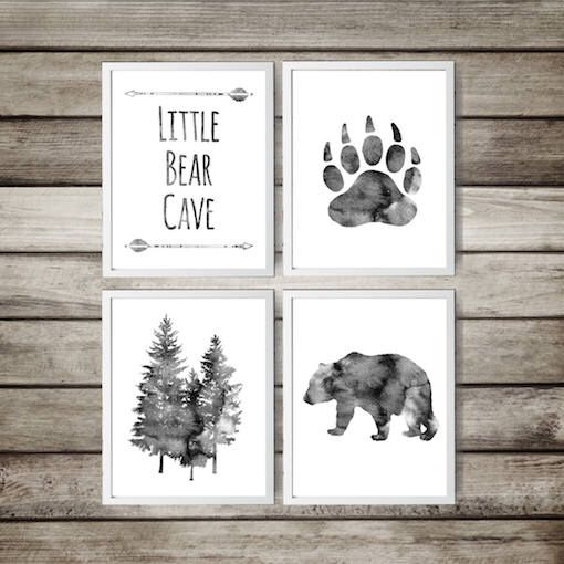Baby boy Nursery Decor,11x14 inch,Bear Cave,tree,Grey,Little Bear,watercolor,Nursery decor, Quote Set of 4 Prints Nursery Art,gift for baby