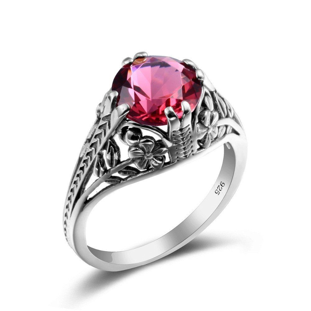 Harry potter clover women magic ring ruby silver vintage