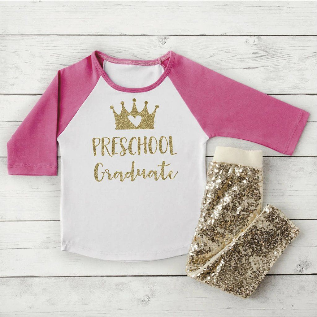 Last Day of Preschool Photo Prop, Preschool Graduation Outfit, Pink and Gold Toddler Girl Clothes 300 #back_to_school #Children #Clothing