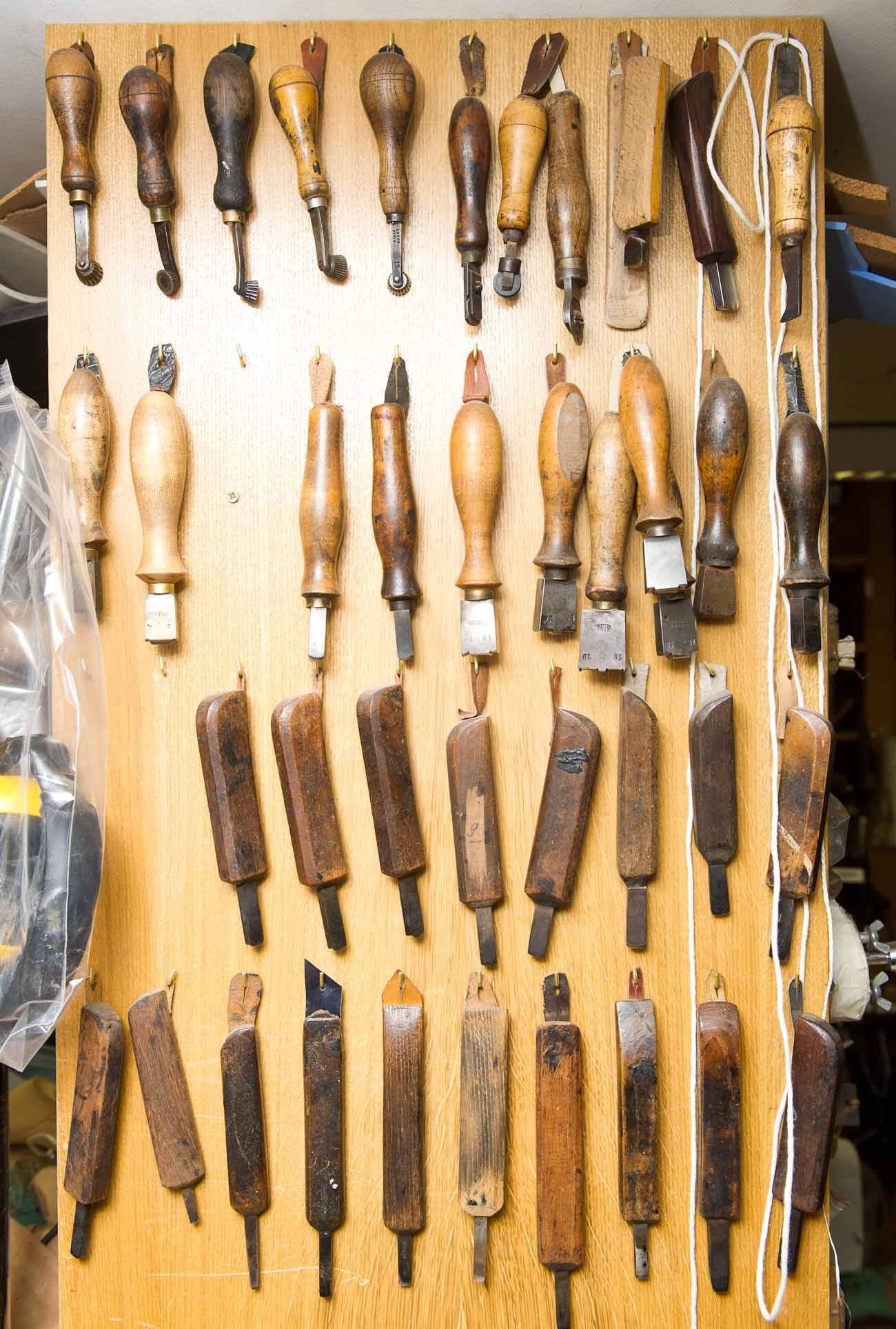 Real leather tools used by the best craftsmen to create Chanel leather