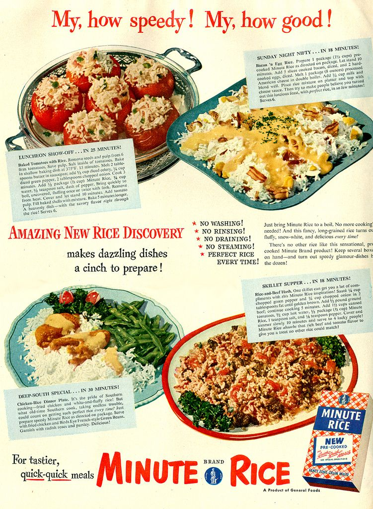 Minute Rice Ad 1950 Minute Rice Vintage Cooking Stuffed Peppers