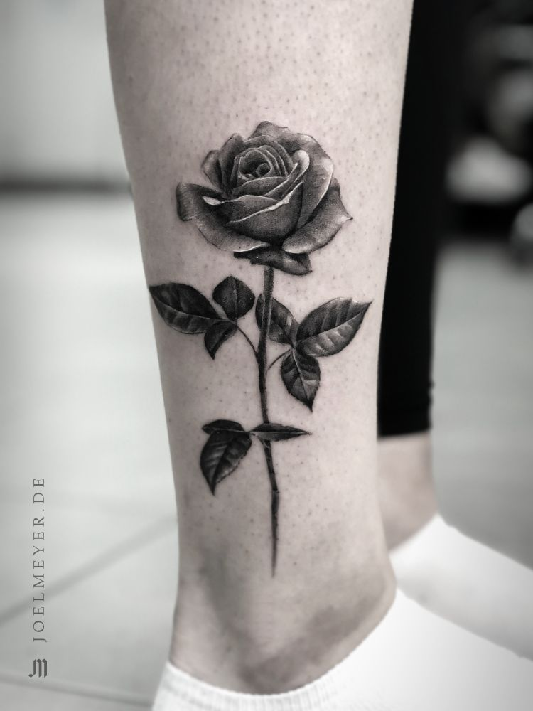 Small Rose Realistic Tattoo Black And Grey Joel Meyer Black Rose Tattoos Realistic Rose Tattoo Black And Grey Rose Tattoo