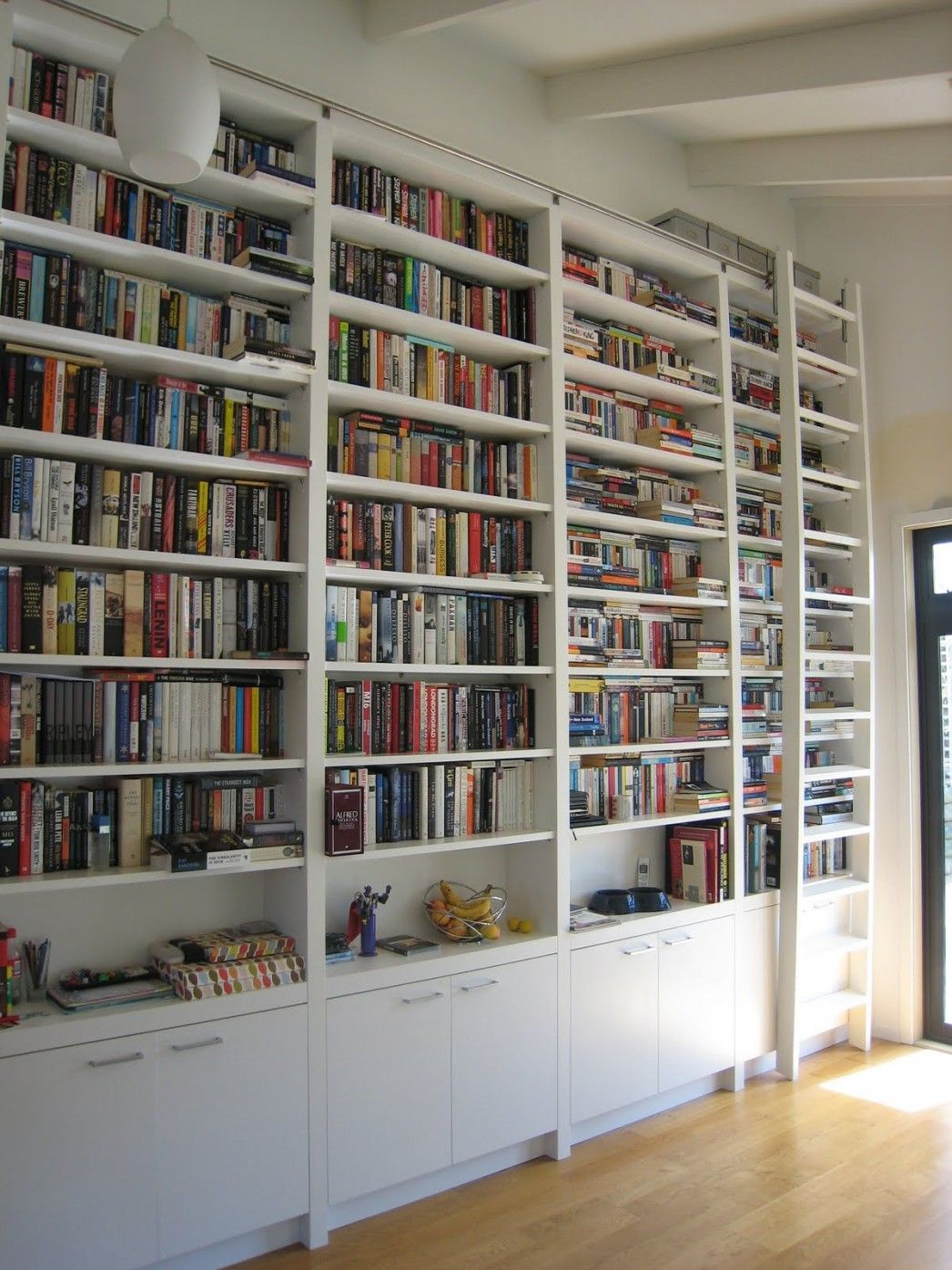 White Bookcase with Library Ladder