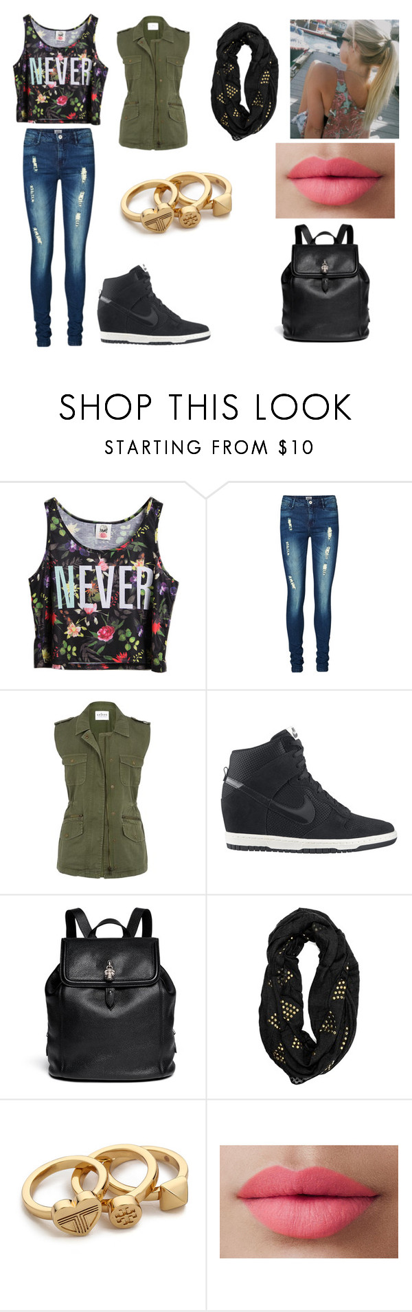 """""""cool"""" by samihadluv ❤ liked on Polyvore featuring Chicnova Fashion, Vero Moda, NIKE, Alexander McQueen, Tory Burch and LORAC"""