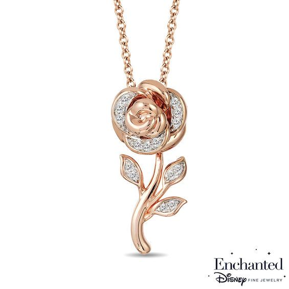 Enchanted Disney Belle 1 10 Ct T W Diamond Rose Ring In