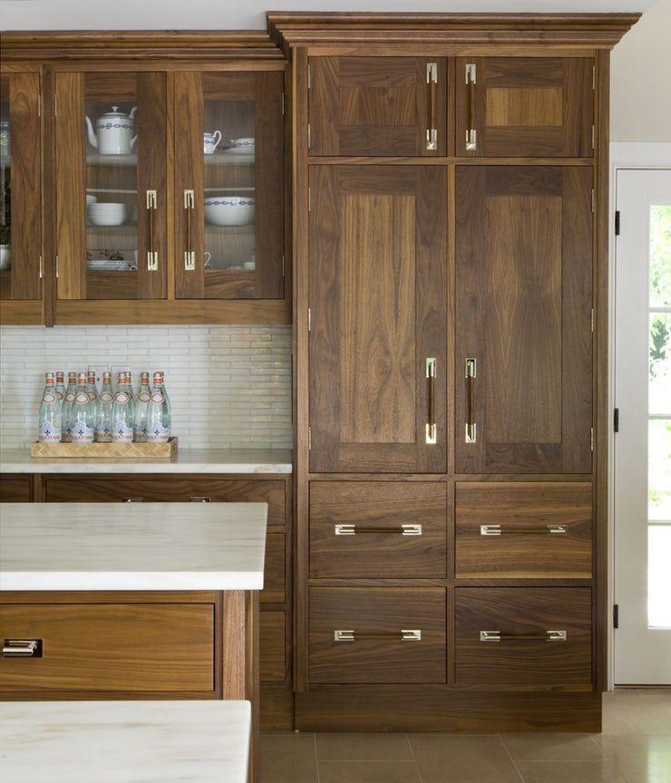 Modern custom walnut kitchen cabinets, white marble ...