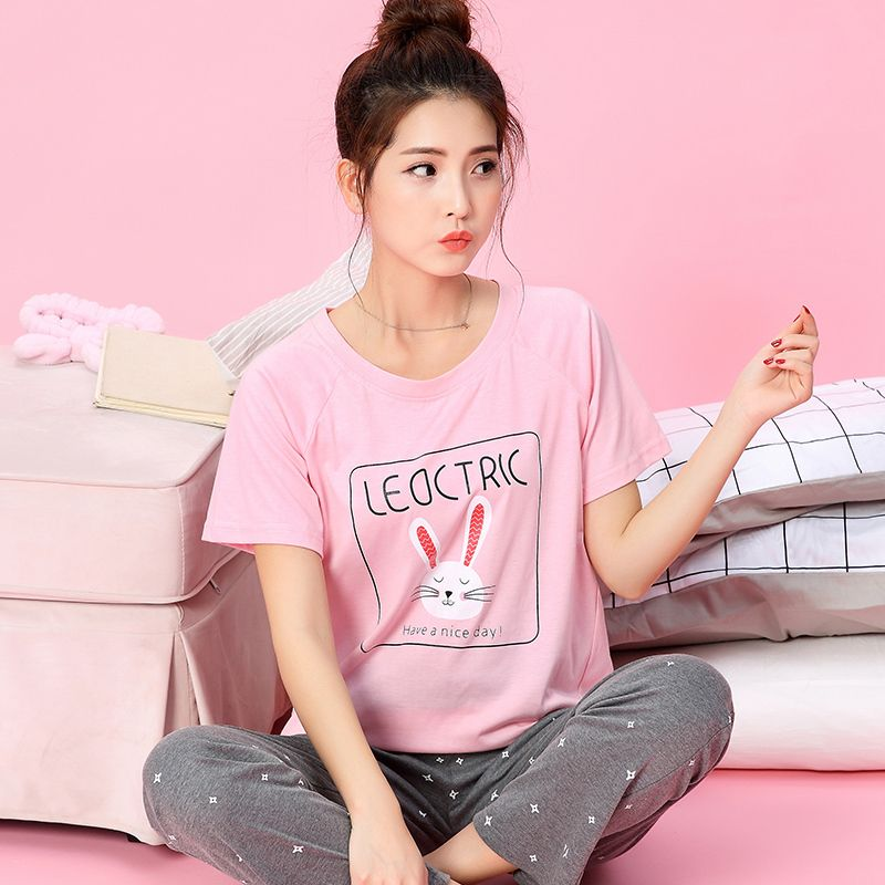 Pajama Sets For Women Cotton Cartoon Rabbit Pajamas Pants Girls Cute Long  Sleeve Sleepwear Pyjama Nightwear 43a1f76b1