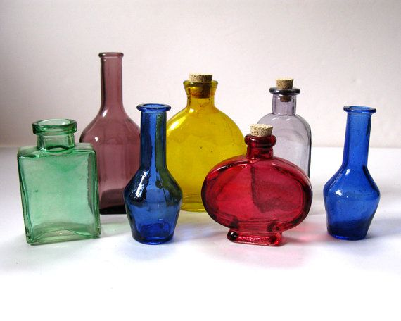 Glass Decorative Bottles Impressive Vintage Mini Colored Glass Decorative Bottles Rainbowrewind Decorating Inspiration