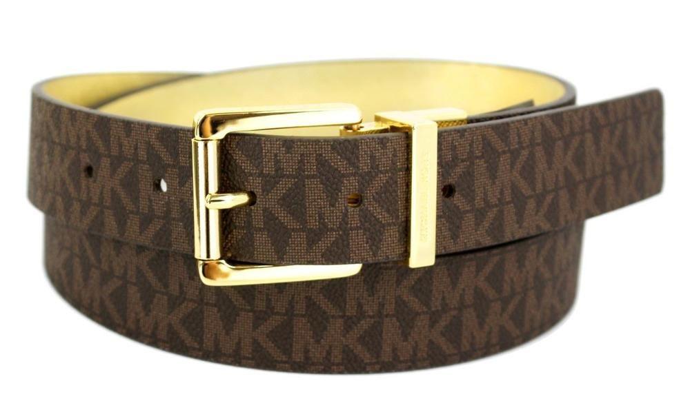 Michael Kors Women's MK Logo Premium Leather Reverisble Belt