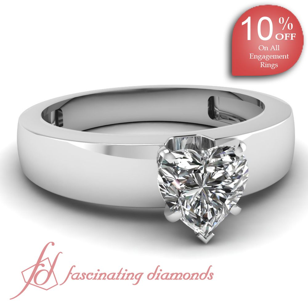 Heart Shaped Diamond 14K White Gold Solitaire Engagement Ring in Prong Setting    Thick Band Ring