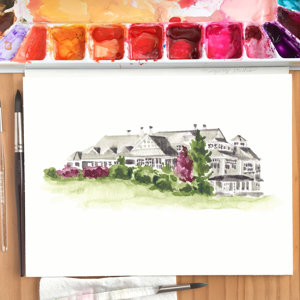 Hand Painted Watercolor Wedding Venue Illustrations Illustrated