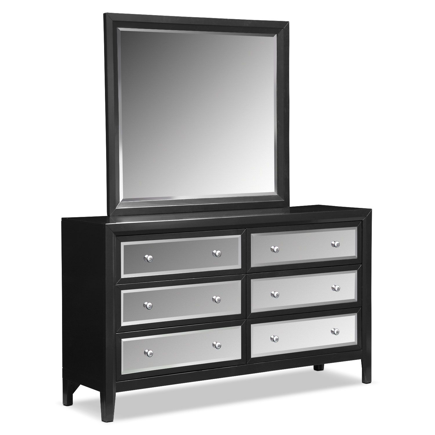 Bedroom Furniture Bonita Dresser And Mirror Black Mirrored