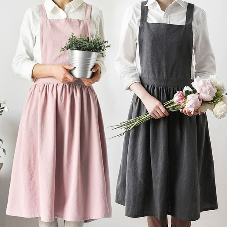d150c2b0f63 Gray   Pink Long Cotton Apron.  littletailorstudio  apron  waitress  waiter   cafe  baker  bartender  barista  florist  painter  restaurant  chef   bistro bbq ...