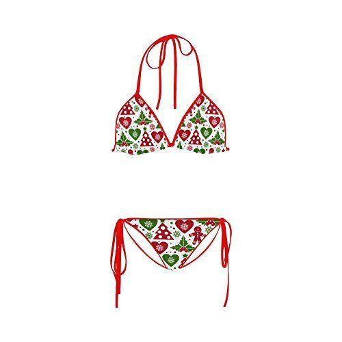 9c04246c32 Women s Christmas Tree and Mistletoe Two Pieces Bikini Sets Swimwear  Swimsuit