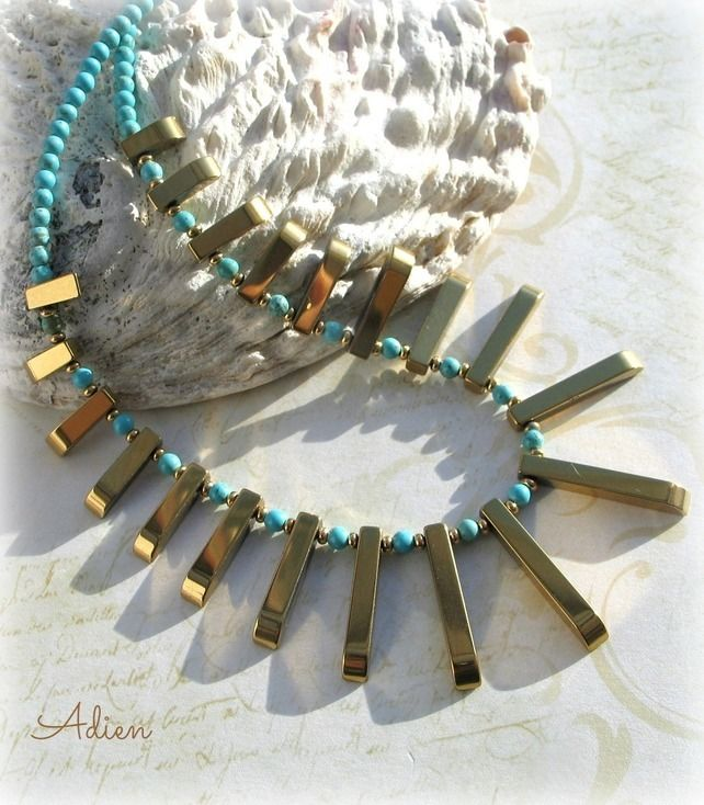 Haematite Gold Tribal Necklace with Turquoise £14.95