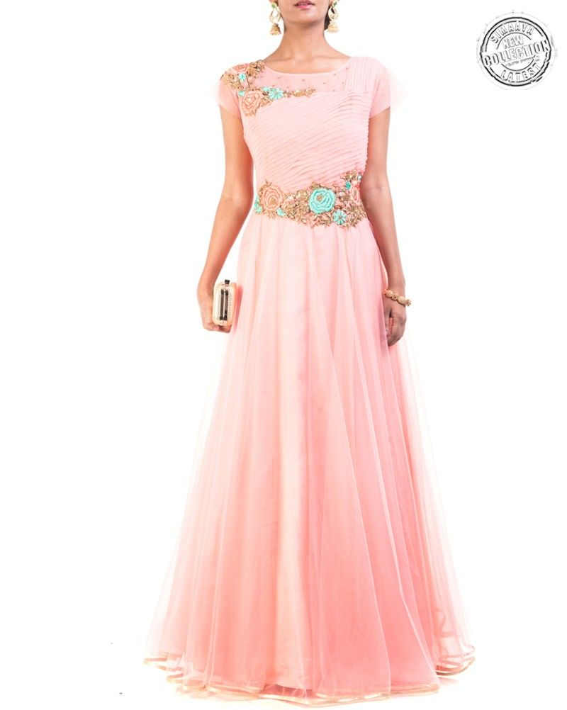 Create a smoldering impression, in this Peach Colour Partywear ...
