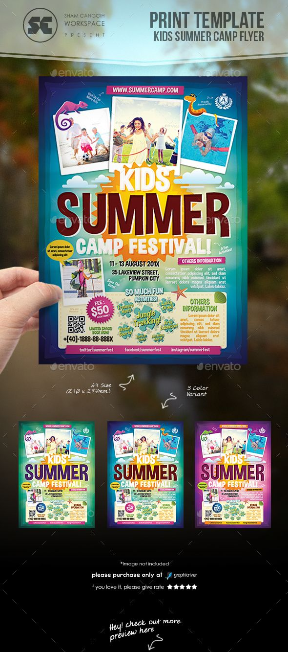 Kids Summer Camp Flyer  Flyer Template Template And Brochures