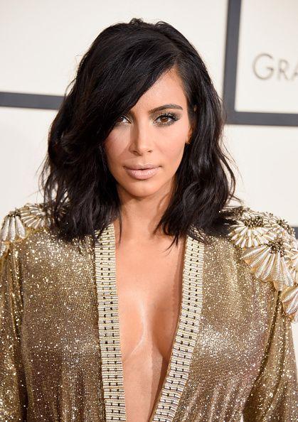 might have my hair cut like this... Kim Kardashian at the 2015 Grammys