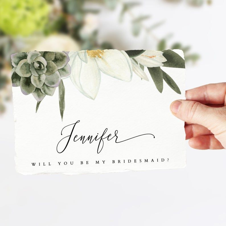 Cara Magnolia Bridesmaid Proposal Card Template Succulent Etsy In 2021 Bridesmaid Proposal Bridesmaid Cards Bridesmaid Proposal Box