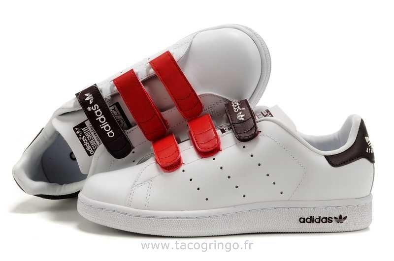 Officiel Excellent Adidas Parfait Stan Smith Blanc Rouge Brun DeGrade  Femmes Mode Chaussures Femmes