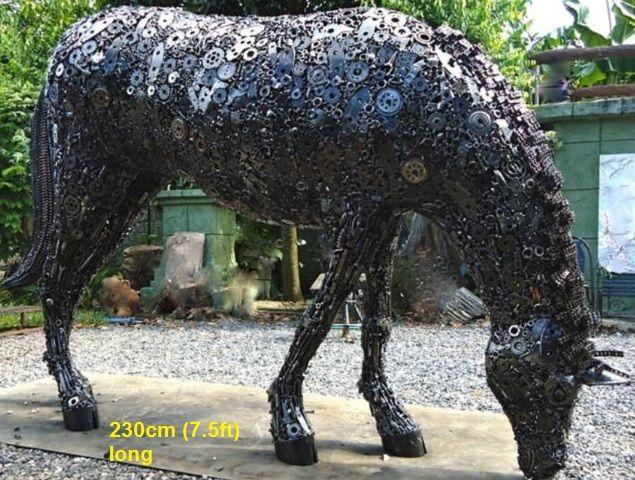 horse grazing statue life size scrap metal art for sale ...