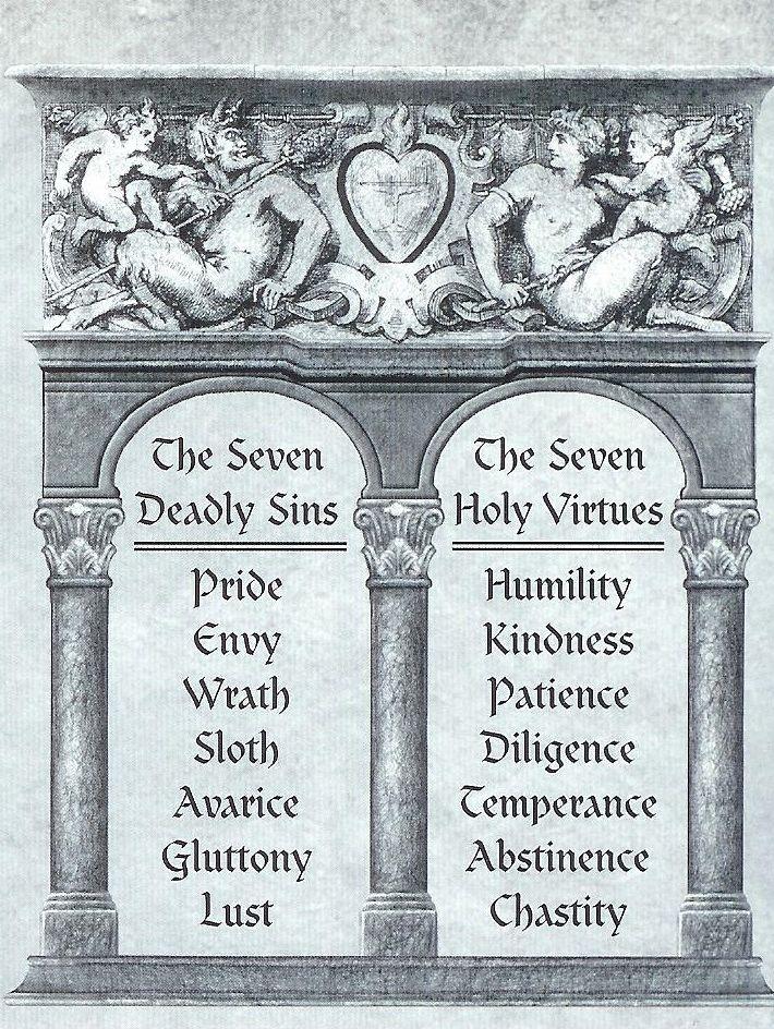 Seven Sins Seven Virtues Writing Pinterest Tattoo Religion
