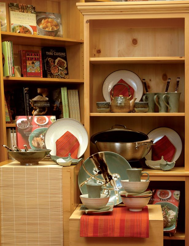 Concise And Uncluttered This Asian Cooking Themed Display From The Cupboard In Fort Collins Co Suggests Add On Purchases Unclutter Home Decor Store Displays