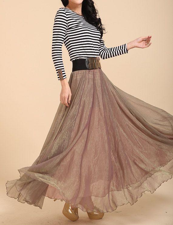 6412f6d313c50f Chiffon Long Skirt-Spring Seide Rock Maxi Kleid von Lantingstyle ...