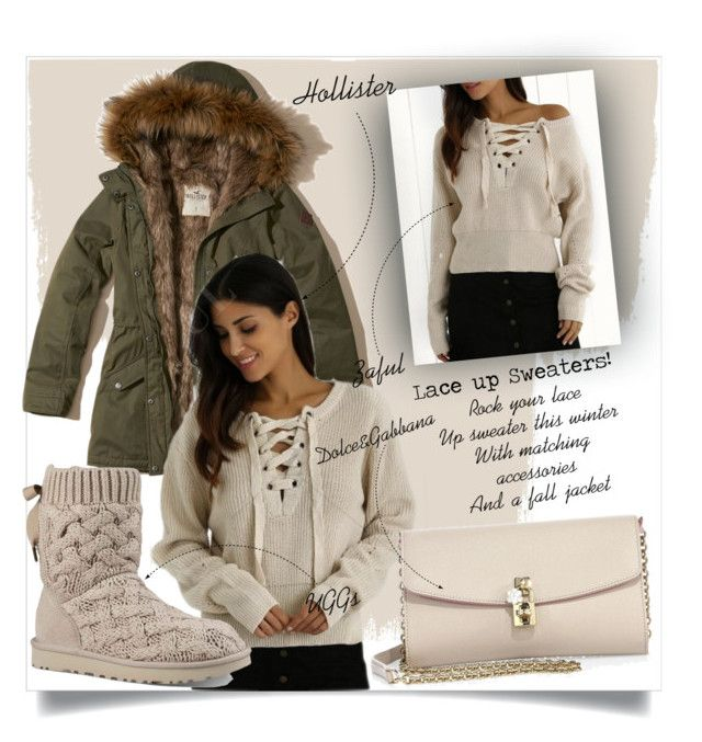 """Lace up sweaters"" by vivistyle21 ❤ liked on Polyvore featuring Hollister Co., UGG and Dolce&Gabbana"