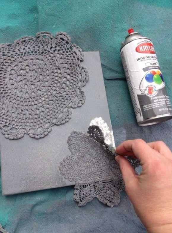 Delightful Spray Paint Canvas Ideas Part - 12: DIY Spray-painted Doily Canvas - Use For Homemade Wedding Invitations