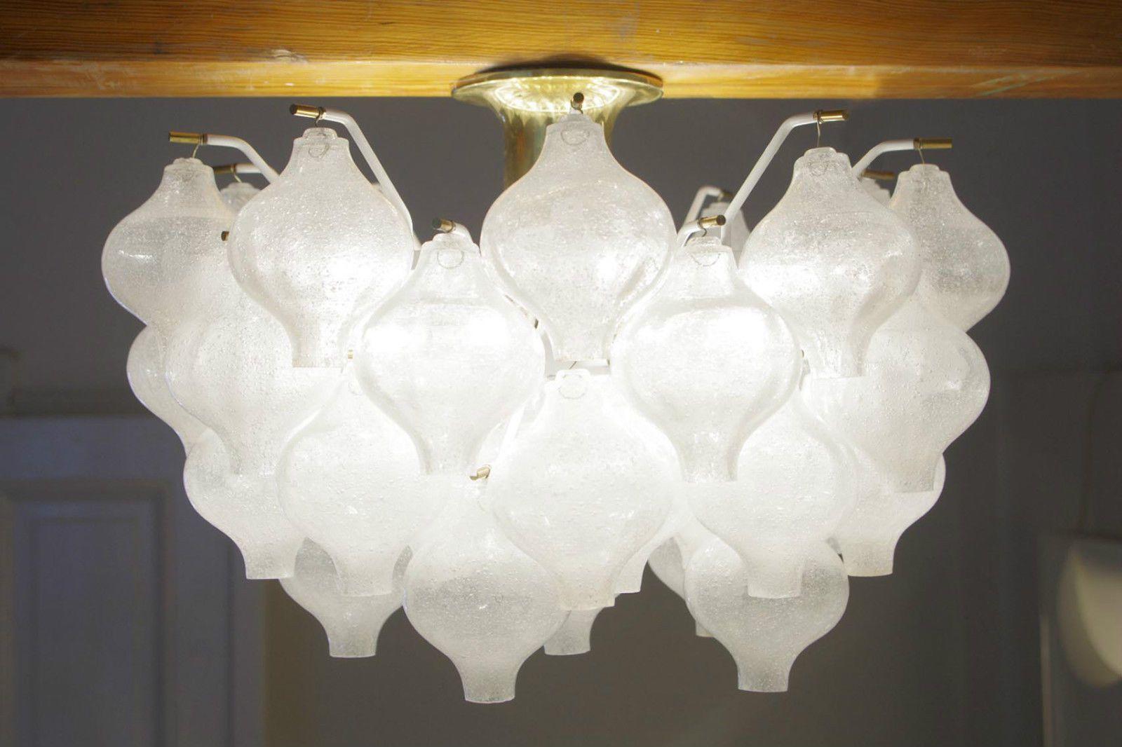 Lampe J T Kalmar Tulipan 1968 Chandelier Pendant Leuchter 50er 60er Design Vintage Chandelier Ceiling Lights Chandelier
