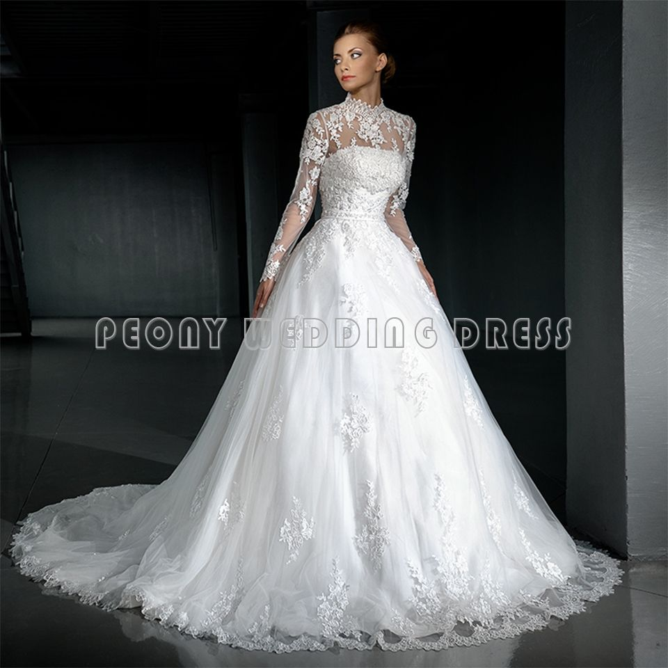 I Find a Vintage Beaded Lace White High Neck Long Sleeve Ball Gown ...