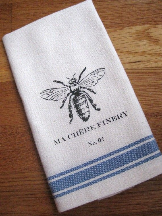 French linen tea towel - use to wrap bread gifts. Imprint with bee printable.