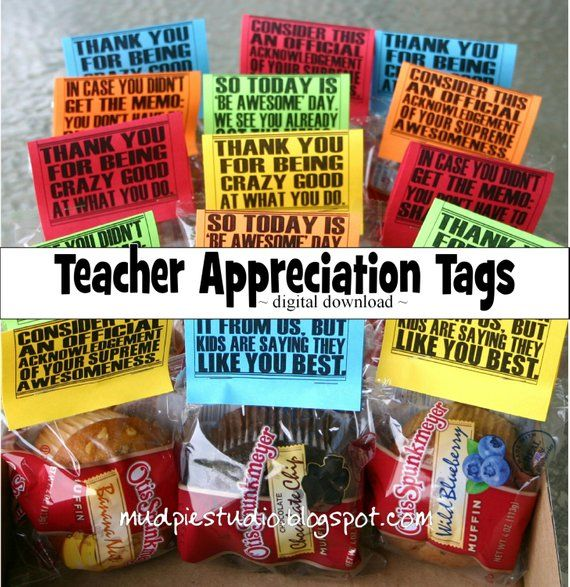 Teacher Appreciation Thank You Tags Toppers - Instant Digital