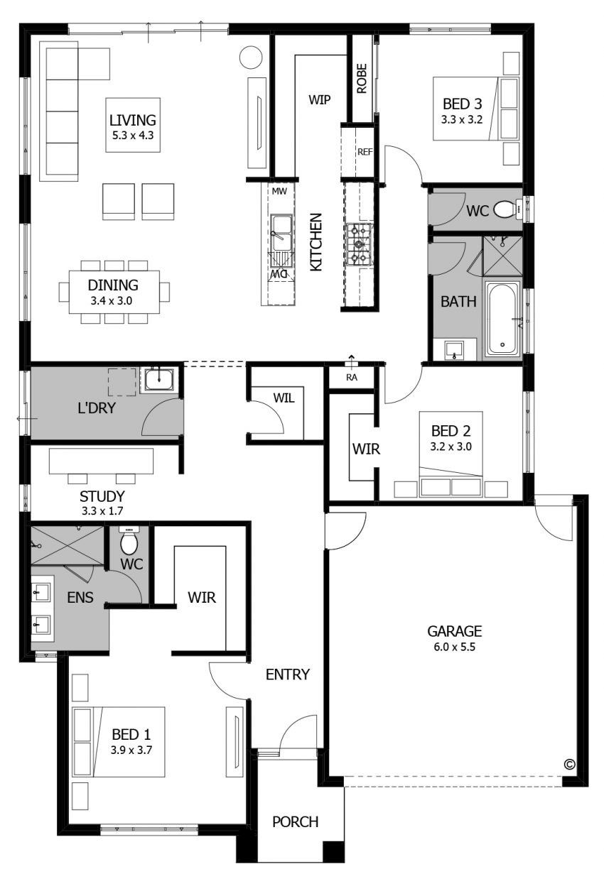 Fresh Small House Floor Plans 3 Bedroom Floor Plan Friday 3 Bedroom For The Small Family Or D Small House Floor Plans Bedroom House Plans Bungalow Floor Plans