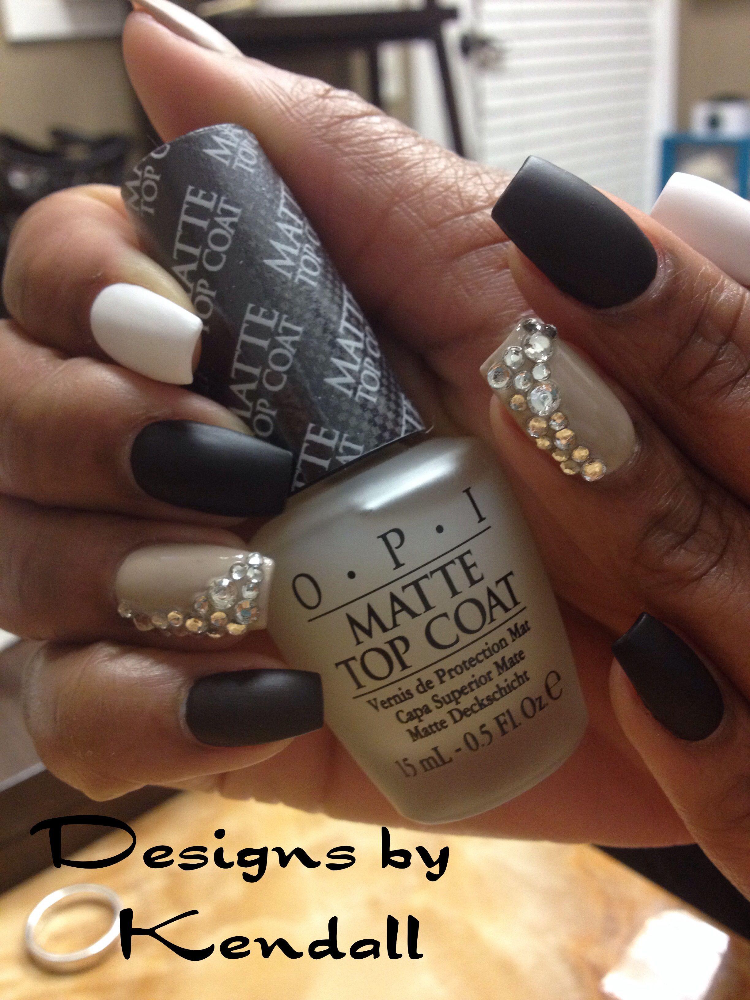 Matte Black Nails Diamond Nail Designs Nails By Kendall
