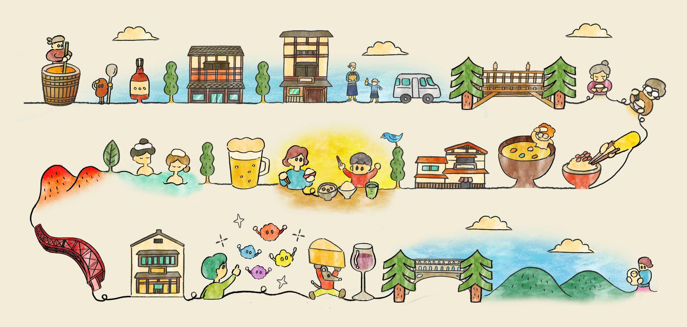 Provincial lifestyle illustration- 地方のライフスタイル イラスト Illustration of a l