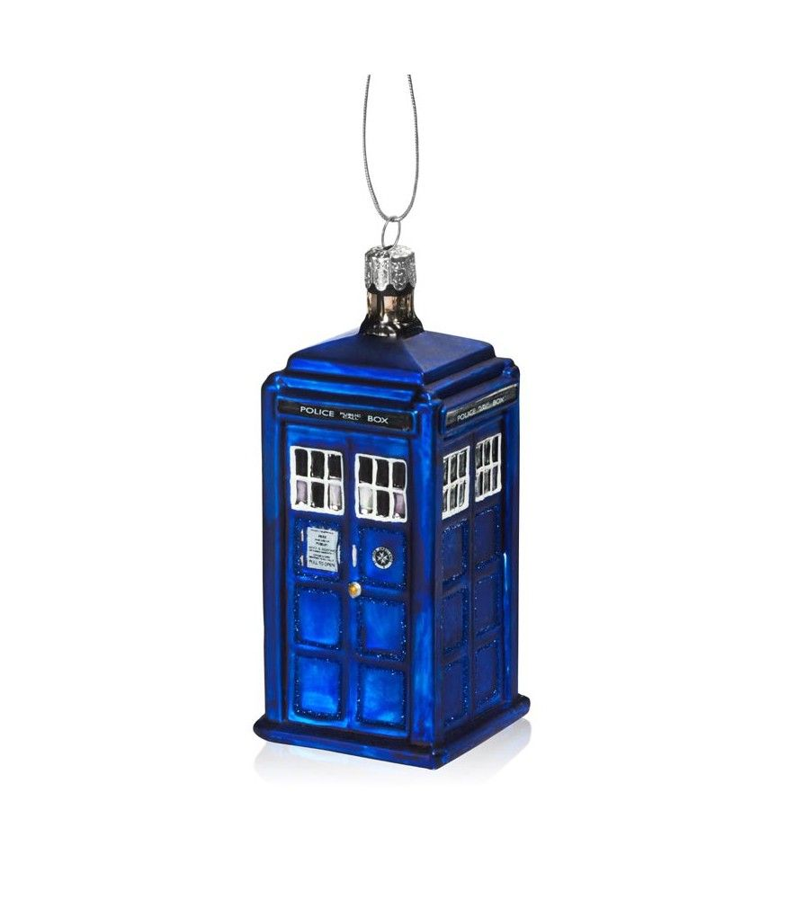 Doctor Who: TARDIS Ornament What luck! The TARDIS materializes on Planet Earth just in time for the holidays! Its classic TARDIS blue color and instantly recognizable chassis give your tree an intergalactic touch, from far beyond the brightest star the human eye can see.