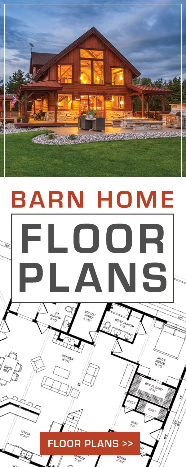 Barn Home Floor Plans!  View a variety of designs and floor plans.   Barn Homes // Floor Plans // Dream Homes SAND CREEK POST AND BEAM #polebarnhomes