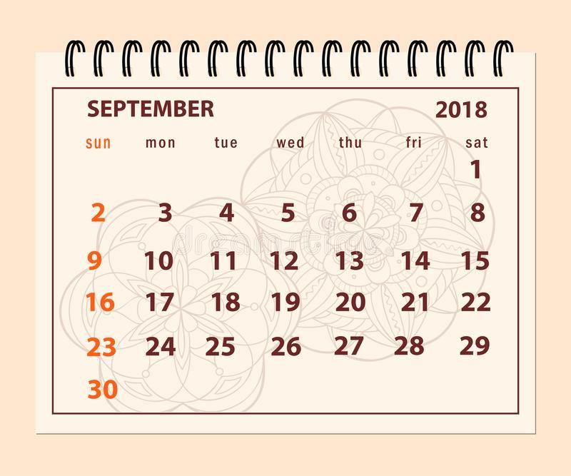 September 2018 Desk Calendar Pink September 2018 Calendar