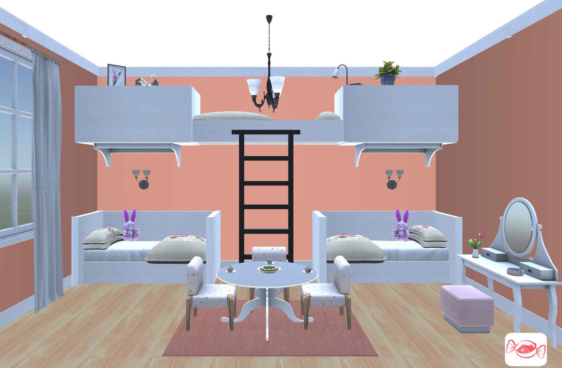 Girls bedroom design created with Home Sweet Home 3D app