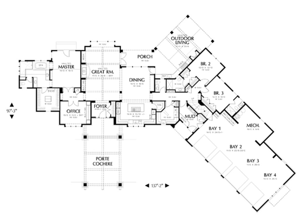 Craftsman Style House Plan 4 Beds 4 5 Baths 4339 Sq Ft Plan 48 465 Craftsman Style House Plans Kitchen Layout Plans House Plans