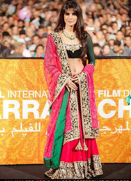 Designer Party Wear Crop Top Multi Print Bollywood Priyanka Chopra Lehenga Choli Other Women's Clothing Women's Clothing