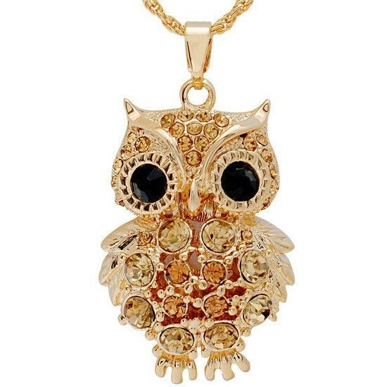 Women's New Retro Cubic Zircon 18K Gold Owl Necklace & Pendant - 3 Styles