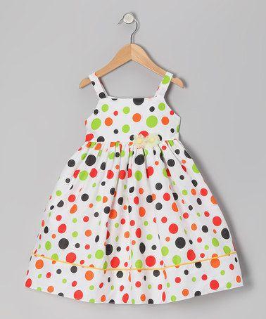 de1b1753f334 Take a look at this Lime   Orange Polka Dot Sundress - Infant ...