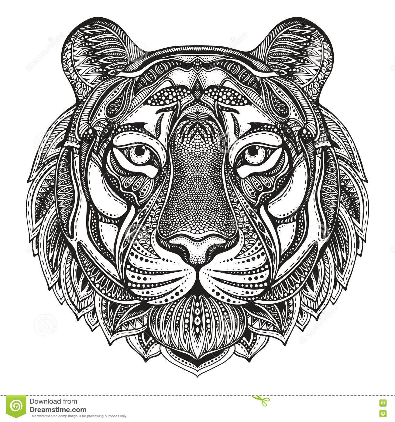 Pin by beth conroy on color cats pinterest dessin tigre tatouage tigre and dessin tatouage - Tigre mandala ...