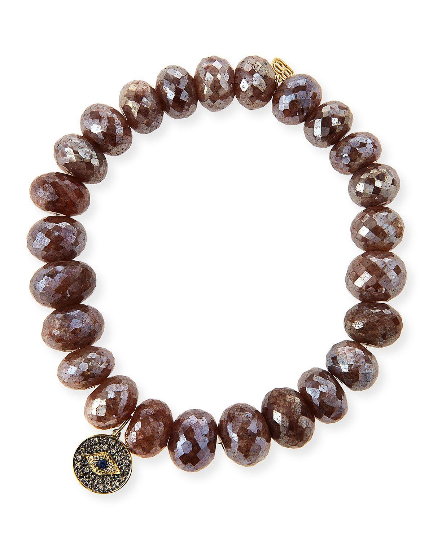 Sydney Evan Gray Pearl Bead Bracelet w/ 14k Evil Eye Charm G9fUGZKbo