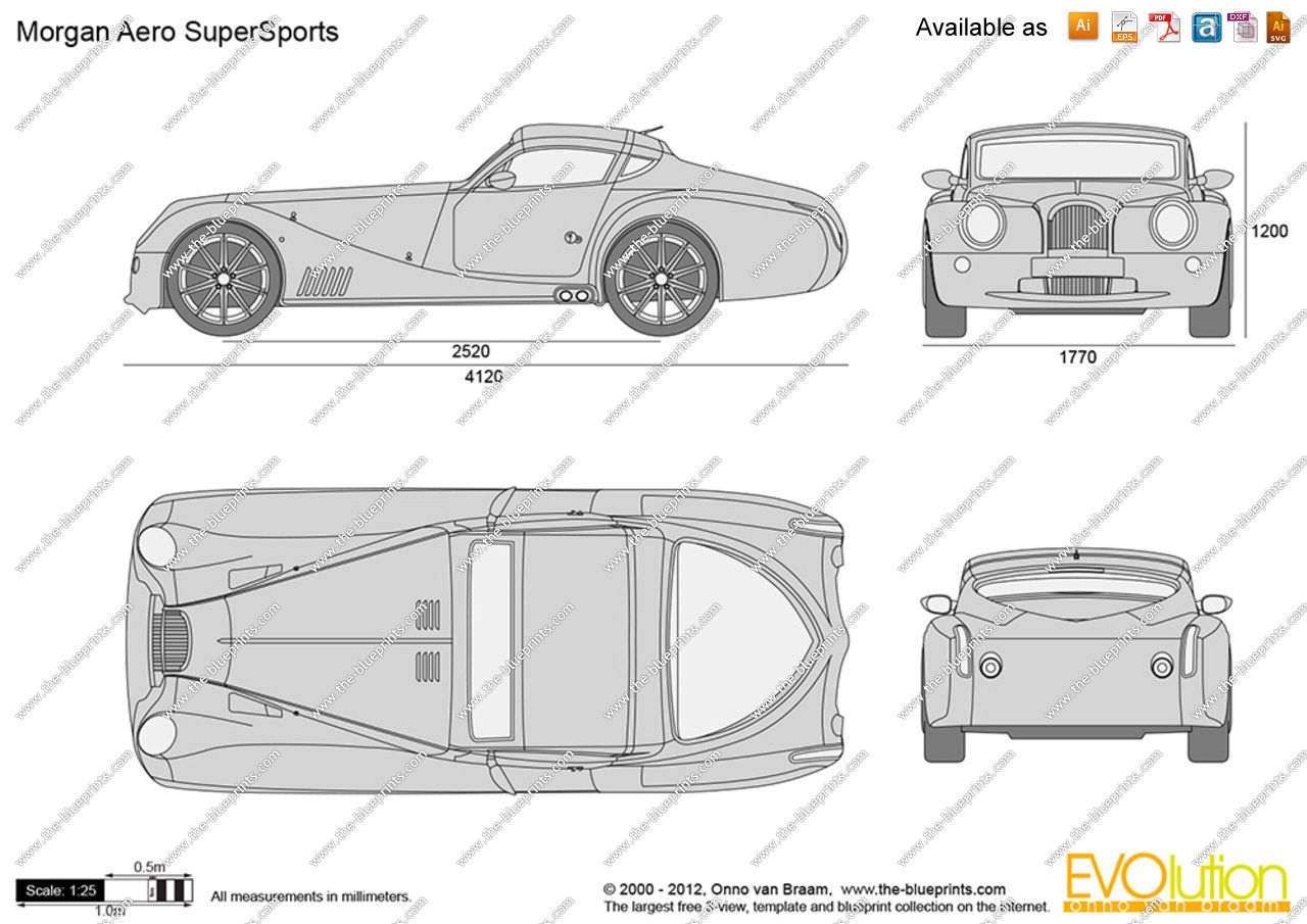 Vector Drawing Morgan Aero Supersports Car Drawings Paper Model Car Morgan Roadster