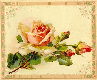 Antique Images: Antique Rose Clip Art: Yellow Rose Image from Antique Painting Instruction Book